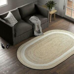 Handmade Hemp Reversible Natural Rug Home Décor Braided 5x8 Feet Carpet DN-2195