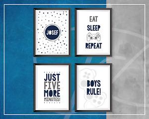 Boys bedroom | GREY & NAVY | Eat sleep game repeat | 4 x A4 prints Personalised