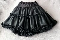 Vtg Fantasia OSFA Black Petticoat Crinoline Multi Scallop Ruffle Pin Up Skirt