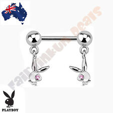 Genuine Double Playboy Bunny Dangle with Pink Jewelled Eyes Nipple Bar Ring