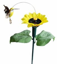 Sunflower with Solar Fluttering Hummingbird,Solar or Battery Power Garden Stake