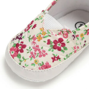 Newborn Baby Girl Soft Sole Pram Shoes Toddler Slip-on Trainers 0-6 6-12 12-18 M