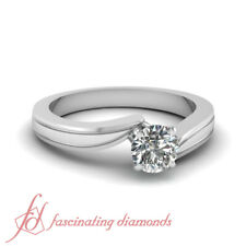 Platinum Twisted Solitaire Engagement Ring With Center Round Diamond 3/4 Carat