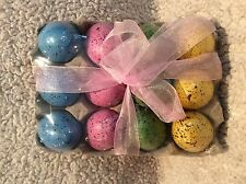 NEW Bright Speckled Foam Easter Eggs in Crate ~ Decorative Easter Eggs ~ Dozen