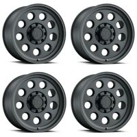 "Set 4 16"" Level 8 Hauler 16x8.5 Matte Black 5x5 Wheels -25mm Rims"