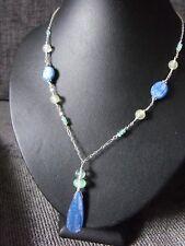 925 STERLING SILVER teardrop NECKLACE KYANITE PREHNITE APATITE gemstone