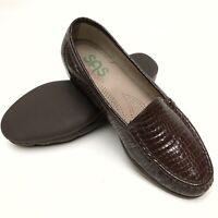 @@ SAS  Brown Patent Leather Croc Women's Slip On Loafers Flats Shoes 8.5 M EUC