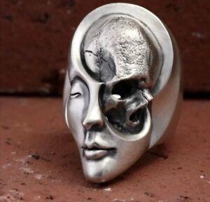 Anello teschio faccia acciaio punk morte / ring skull face steel death