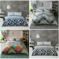 Stripe Print Duvet Cover Set New Double Single King Size Quilt Stripe Bedding