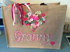 Personalised Large Jute Bag With Button Heart Ladies Gift Shopping, Christmas