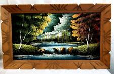 Mid-Century Vintage Oil on Black Velvet Landscape Forest Painting Wood Frame