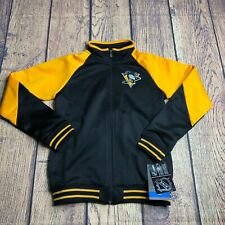 NHL Girls Med 10/12 Pittsburgh Penguins Ribbed Raglan Style Full Zip Jacket NEW
