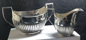 Art Deco Sterling Silver Sugar Bowl And Creamer,-335g
