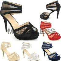 Womens Mens Crossdresser Drag Queen High Heel Ankle Strappy Shoes Large Size New
