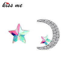 18K Gold Plated 925 Silver Post Asymmetric Multicolor Star Moon Stud Earrings
