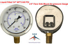 "Liquid Filled 2.5"" Face 0-60 PSI Air Pressure Gauge Side Mount 1/4"" NPT"