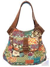 Fossil Patchwork Canvas Hobo Shoulder Bag Purse & Key RARE XL $168 GREAT