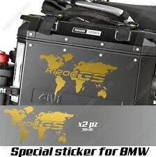 PAIR OF STICKERS WORLD MAP BMW R 1200 GS LC GLOBE FOR SIDE CASES GOLD