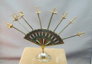 Vintage Toledo Spain Hinged Fan Sword Appetizer Pick Set