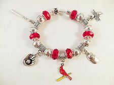 GLASS BEADS Official MLB SAINT LOUIS CARDINALS Baseball Charm Bracelet RED CRYST
