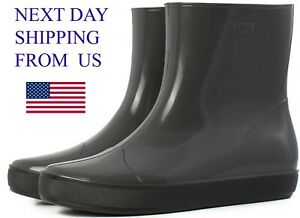 Women Rubber Short Ankle-High Wide Calf Pull-On Style Rain Garden Boots