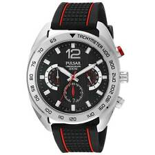 Pulsar PT3633 Gent's Black Dial Black & Red Strap Chrono Watch