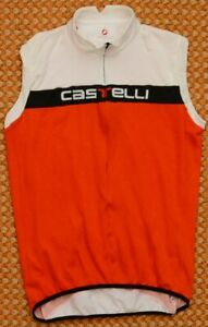Castelli Cycling Vest, Sleeveles Jersey, pockets, red and white, Men's XXL, 2XL