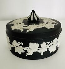 More details for wedgwood jasper ware black and white lidded trinket box excellent condition