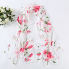 New Women's Fashion flower Long Soft Silk Chiffon Shawl Wrap Wraps Scarf Scarves