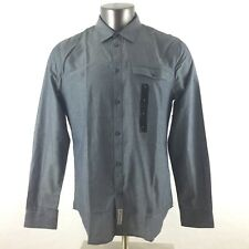 Calvin Klein L Large Modern Fit Button Down Front Long Sleeve Dress Shirt Grey
