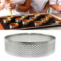 1PC Stainless Steel Tart Ring Baking Tool Perforated Tart Circle Ring Mold h h