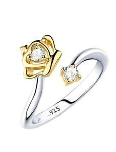 925 Silber Damen Ring Krone vergoldet Dehnbar Resizable Strass Top Geschenk 2020