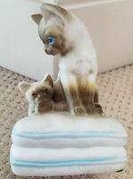 Siamese Cat Kitten Music Box Sankyo Mann Vintage 1980 Porcelain Japan Works