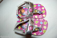 "Toddler Baby Girls DORA SANDALS Silver T Strap Thong PINK HEARTS 1"" Heel M 7-8"