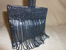 VICTORIAN STYLE HAND KNIT FRINGE SEED BEAD BLUE GRAY EVENING BAG/PURSE, STUNNING
