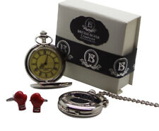 MUHAMMAD ALI Signed Silver Pocket Watch and Boxing Glove Cufflinks Gift Set Box