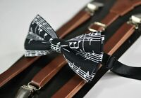 Kids Boys BLACK WHITE Music Notes Bow tie Brown Leather Suspenders Braces