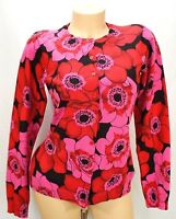 Isaac Mizrahi Womens Cardigan Size XS Pink Red Black Long Sleeve Floral Sweater