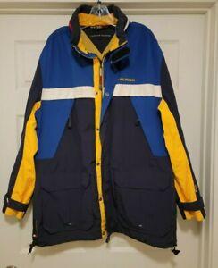 Vintage 90s Tommy Hilfiger Color Block Jacket Sailing Spellout Flag Men's XL NEW