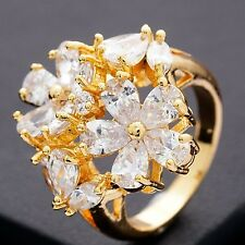 Complicated Design Jewellery Gold Plated Double Flower Big Rings   (size:7)