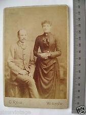 OLD CABINET N PHOTO CDV By C Reid Wishaw Victorian Couple Portrait Fashion 48