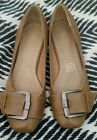 NOVO Loafers Moccasins Beige Brown Leather Lined Flats Round Toe Buckle Size 38