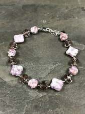 "7.25"", Swarovski crystal beads bracelet, with 925 silver clasp, stamped 925"