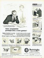 PUBLICITE ADVERTISING 125  1958  BURROUGHS  machines comptables au Sicob