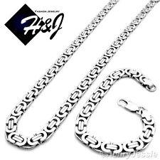 "24""MEN Stainless Steel 8mm Silver Flat Byzantine Box Chain Necklace Bracelet SET"