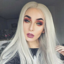 Platinum Blonde Synthetic Lace Front Wigs Long Straight Blonde Wig For Halloween