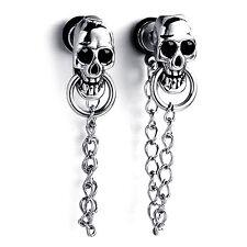 MENDINO Men's Stainless Steel Enamel Stud Earrings Skull Chain Drop Dangle Screw