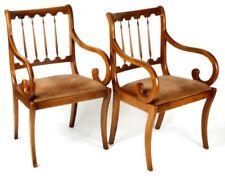 Pair of Regency Yew wood Sabre Leg Elbow Chairs - FREE Shipping [PL1866C]