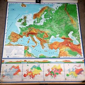 Large Vtg Mid Century Europe Roll Pull Down School Map 1968 Nystrom 94x60