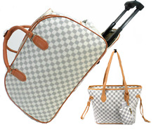Designer Inspired Cabin Trolley Hand Luggage Holdall Case With Matching Handbag